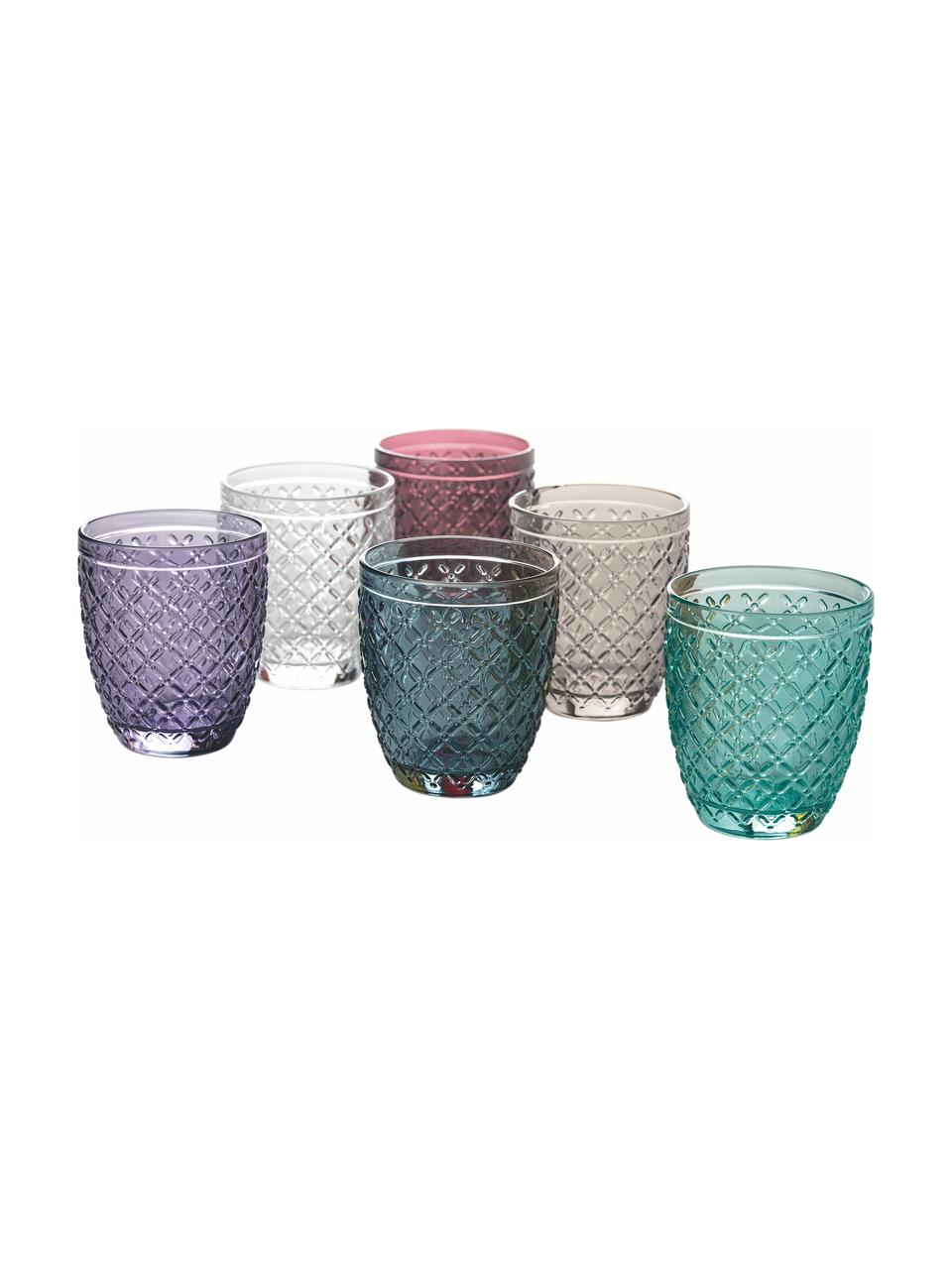 Komplet szklanek do wody Rombi, 6 elem., Szkło, Wielobarwny, Ø 8 x W 10 cm