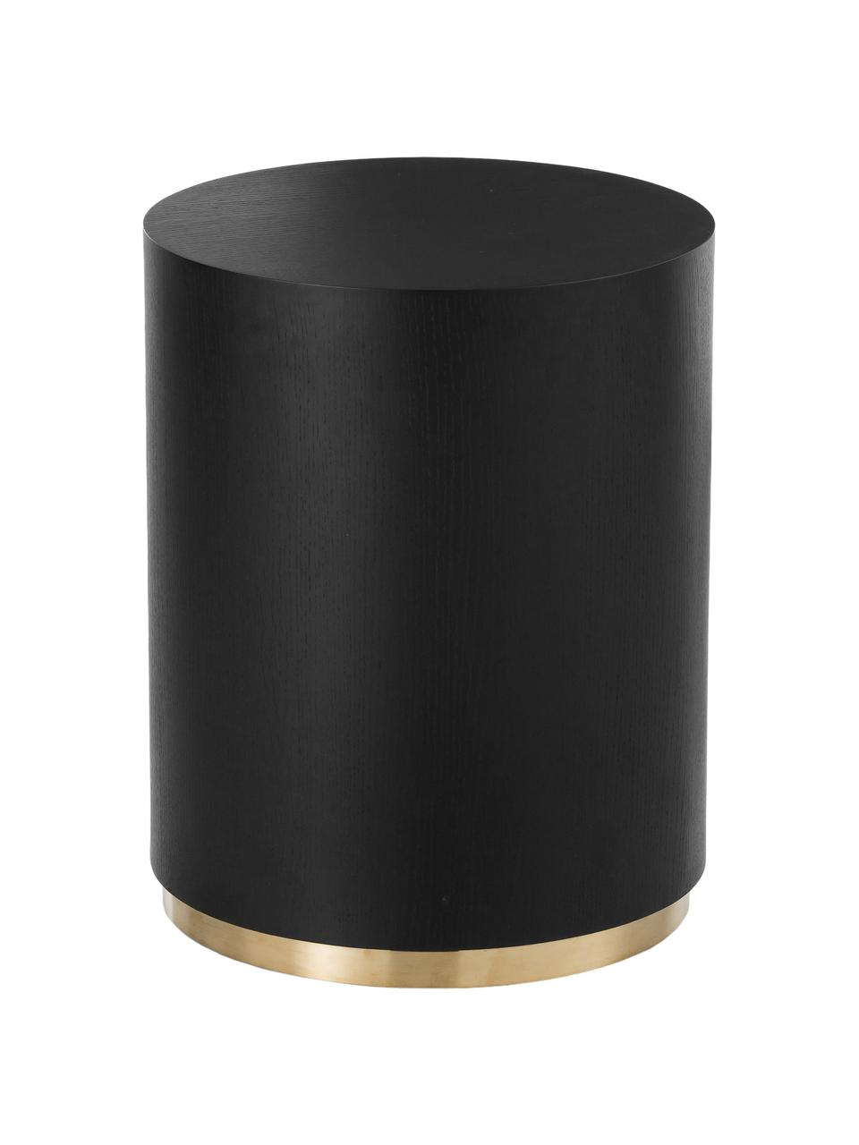 Bijzettafel Clarice in zwart, Frame: MDF met essenhoutfineer, Voet: gecoat metaal, Frame: zwart gelakt essenhout. Voet: goudkleurig, Ø 40 x H 50 cm