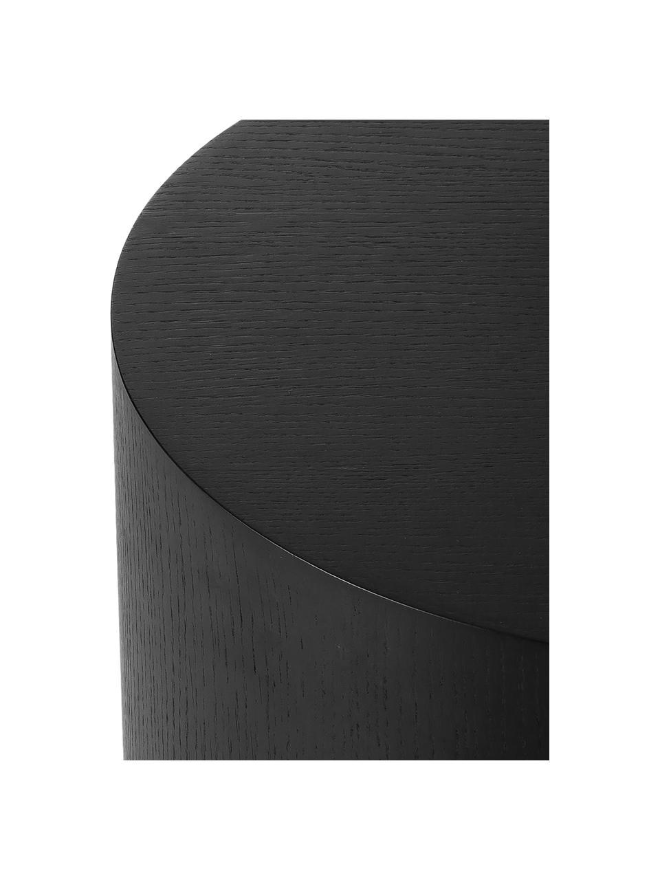 Table d'appoint noire Clarice, Corps: bois de frêne, laqué noir Pied: couleur dorée