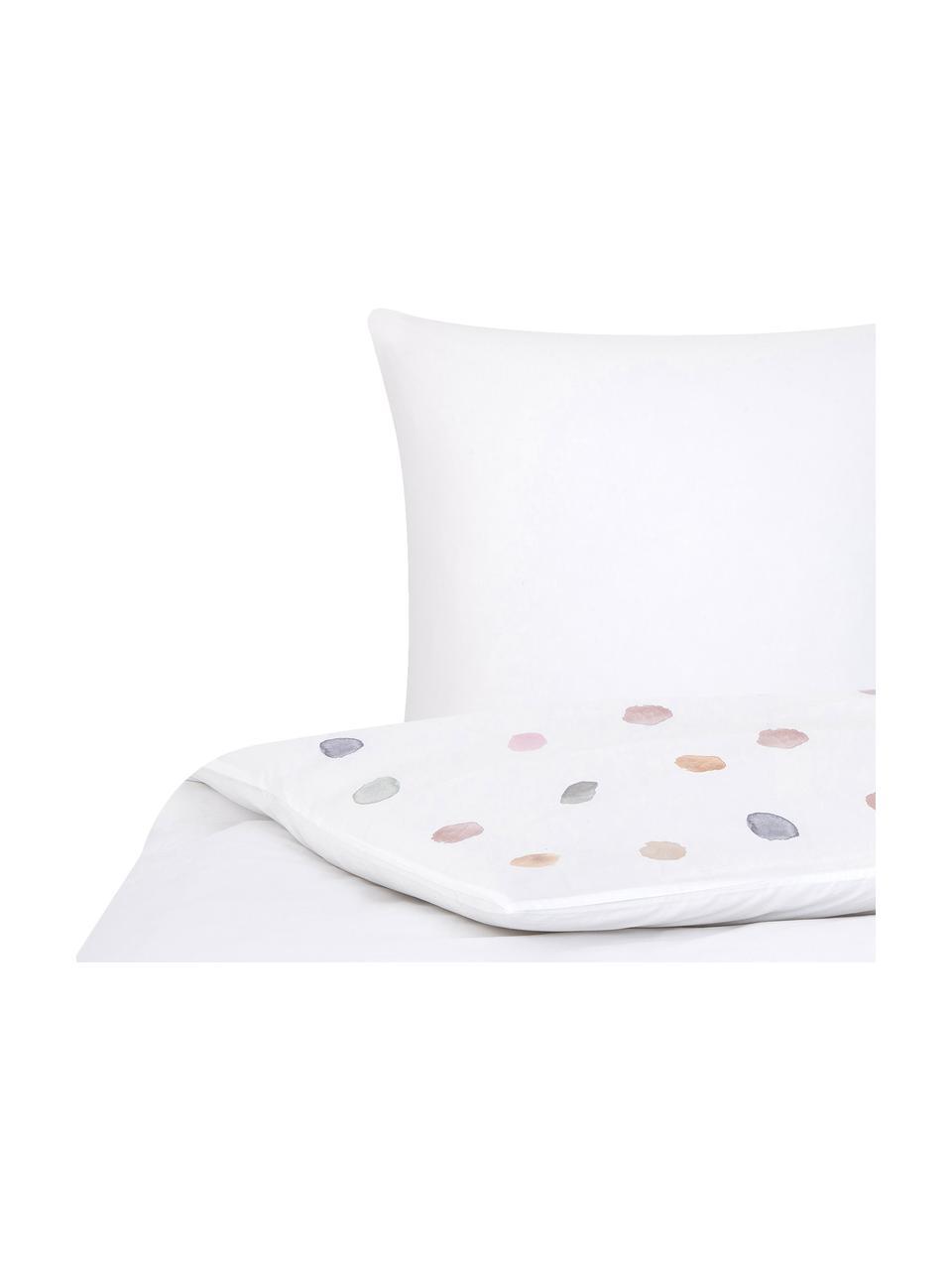 Pościel z perkalu Sally, Przód: akwarele w białe kropki Tył: biały, 135 x 200 cm