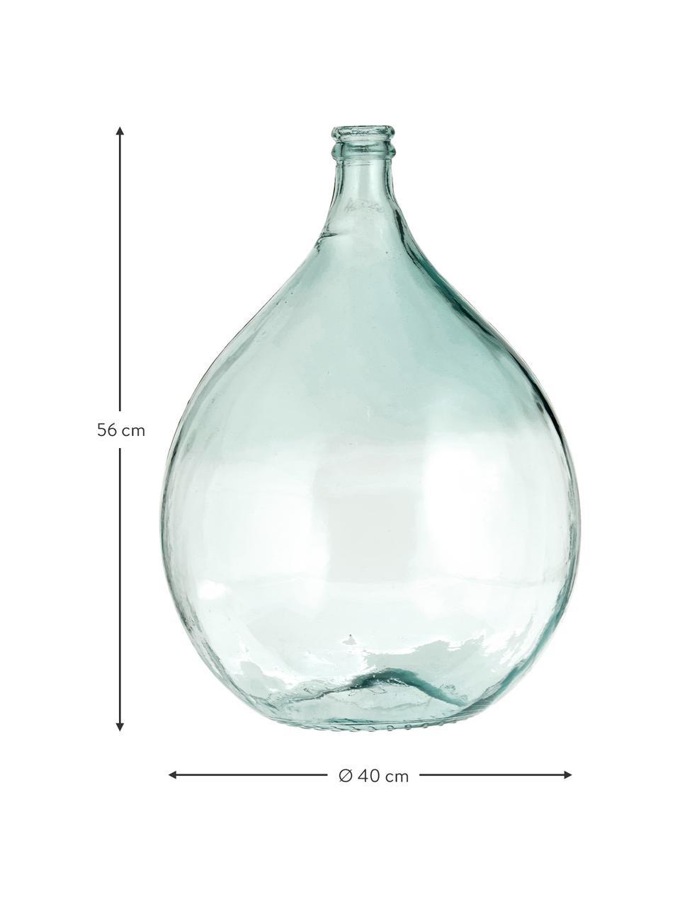 Bodenvase Drop aus recyceltem Glas, Recyceltes Glas, Hellblau, H 56 cm