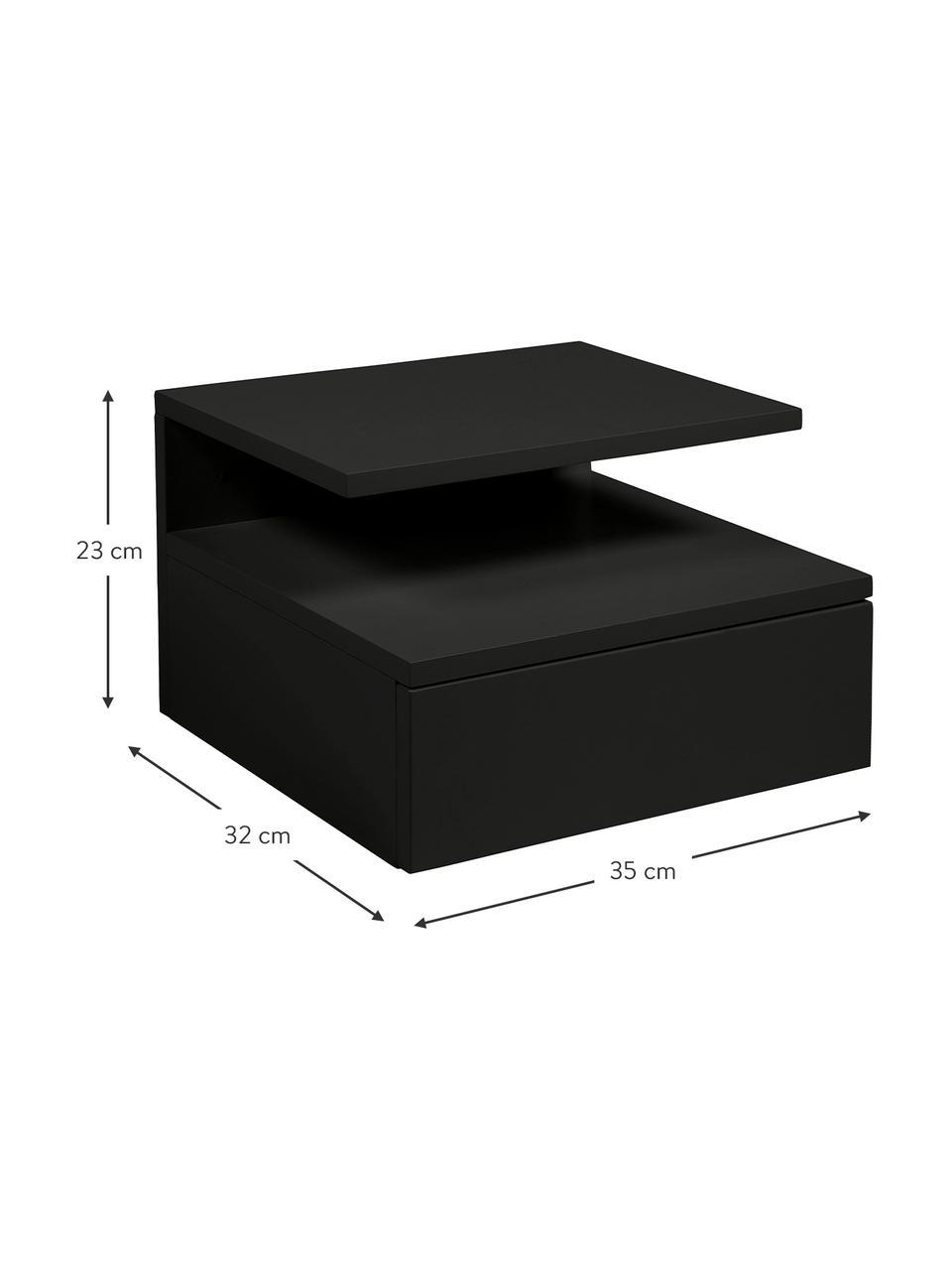 Ścienna szafka nocna z szufladą Ashlan, Lakierowana płyta pilśniowa średniej gęstości (MDF), Czarny, S 35 x W 23 cm