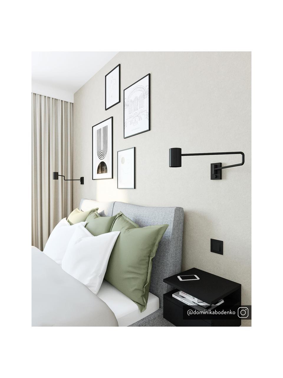 Wand-Nachttisch Ashlan mit Schublade, Mitteldichte Faserplatte (MDF), lackiert, Schwarz, 35 x 23 cm