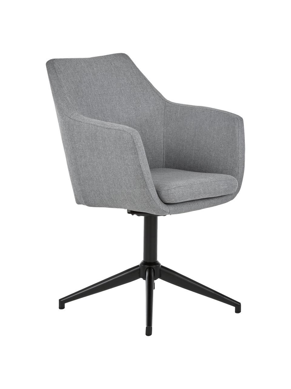 Krzesło tapicerowane z podłokietnikami Nora, obrotowe, Tapicerka: poliester, Stelaż: metal malowany proszkowo, Jasny szary, czarny, S 58 x G 57 cm