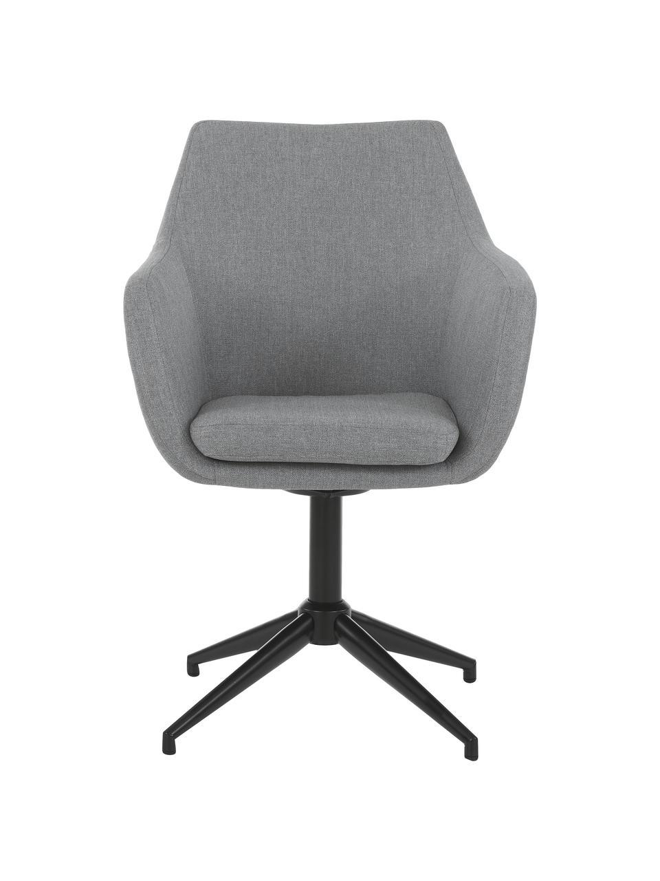 Krzesło obrotowe tapicerowane Nora, Tapicerka: poliester, Stelaż: metal malowany proszkowo, Jasny szary, czarny, S 58 x G 57 cm