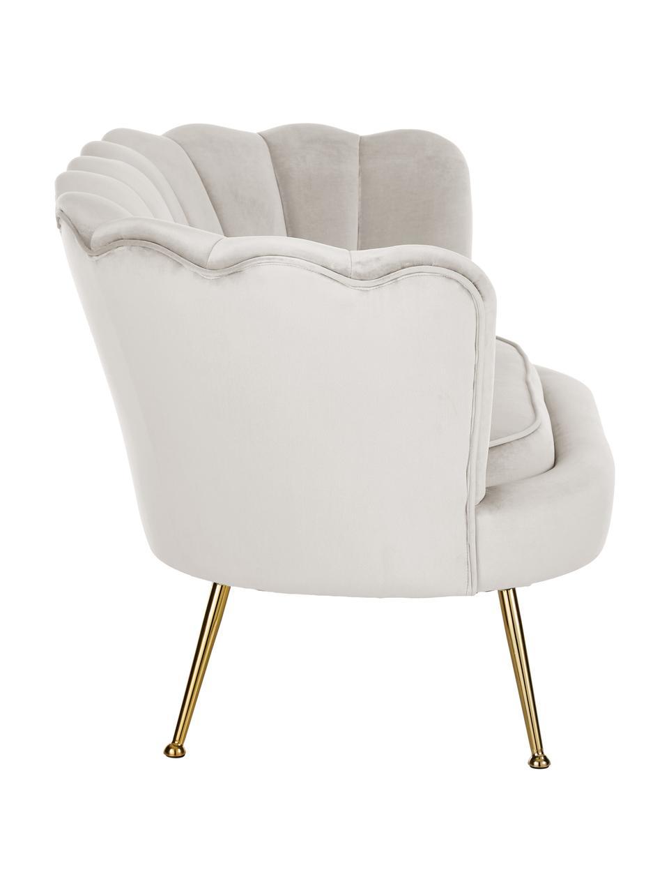 Sofa z aksamitu z metalowymi nogami Oyster (2-osobowa), Tapicerka: aksamit (poliester) 30 00, Nogi: metal galwanizowany, Aksamitny kremowobiały, S 131 x G 78 cm