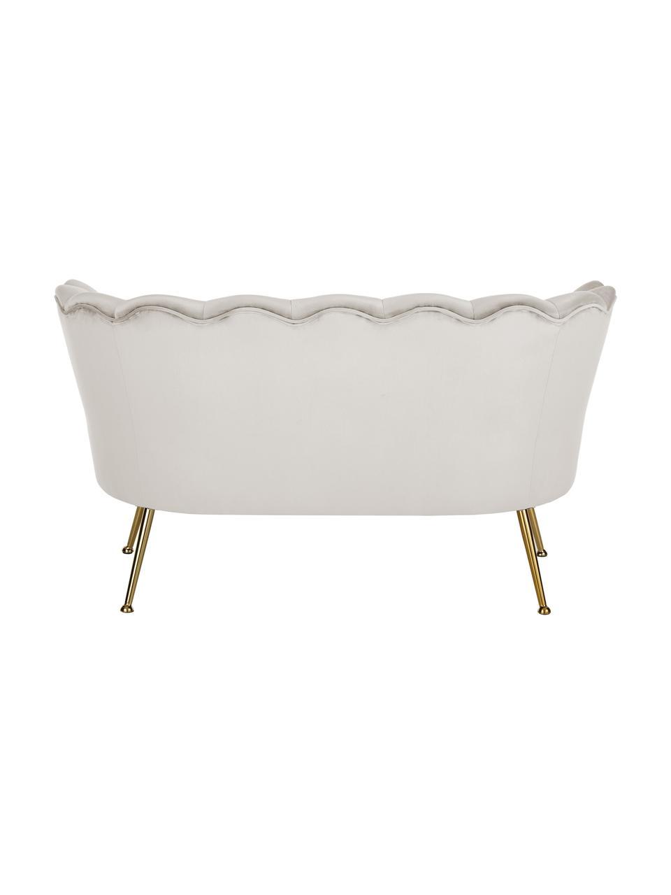Divano vintage 2 posti in velluto bianco crema Oyster, Rivestimento: velluto (poliestere) 30.0, Struttura: legno massello di pioppo , Velluto bianco crema, Larg. 131 x Prof. 78 cm