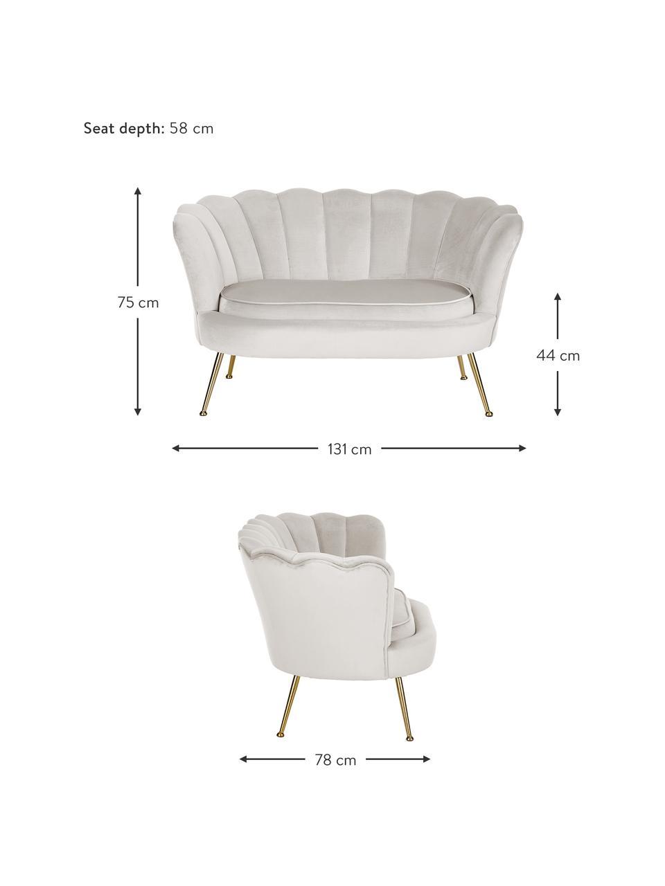 Samt-Sofa Oyster (2-Sitzer) in Beige mit Metall-Füßen, Bezug: Samt (Polyester) 30.000 S, Gestell: Massives Pappelholz, Sper, Füße: Metall, galvanisiert, Samt Cremeweiß, 131 x 75 cm
