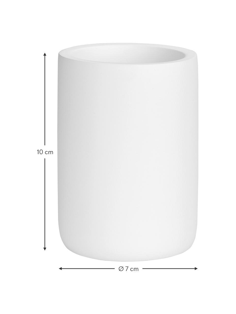 Zahnputzbecher Archway, Polyresin, Weiß, Ø 7 x H 10 cm