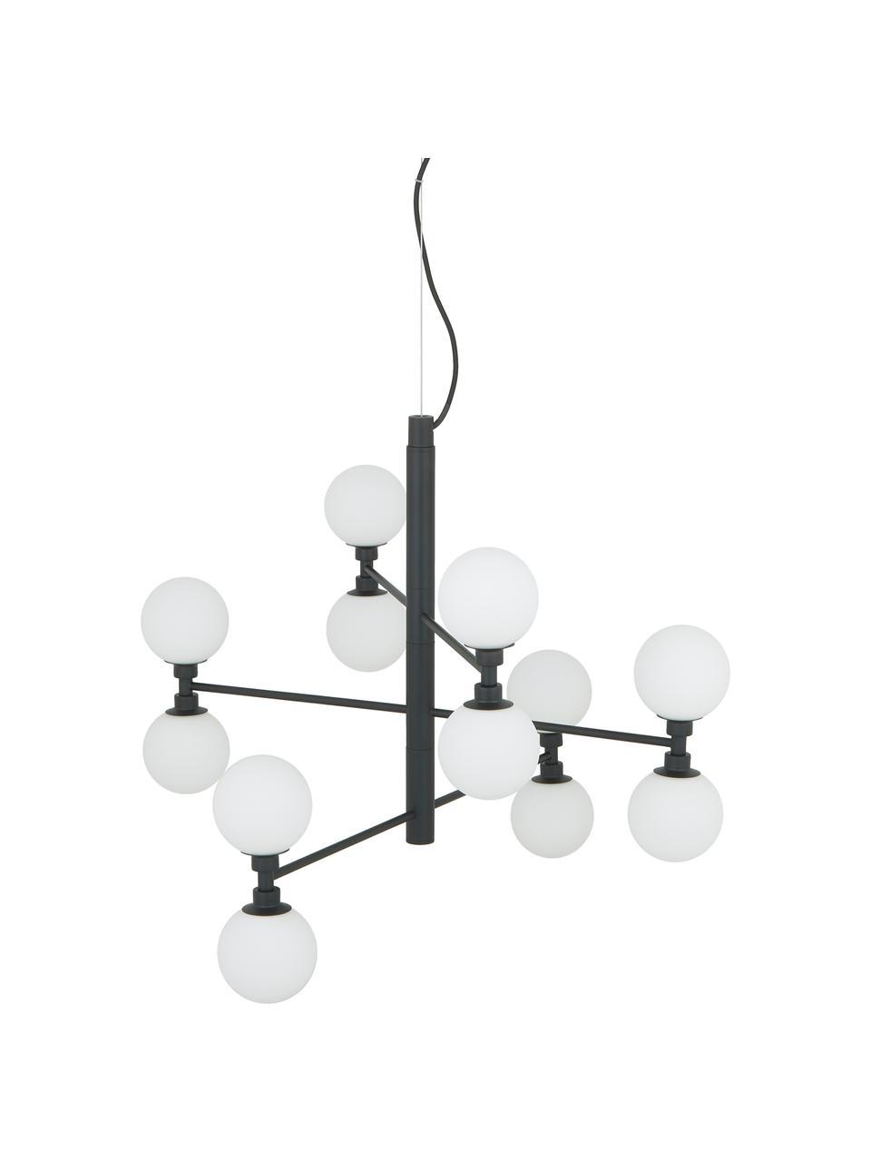 Große Pendelleuchte Grover mit Glaskugeln in Schwarz, Baldachin: Metall, pulverbeschichtet, Schwarz, Weiß, Ø 70 x H 56 cm