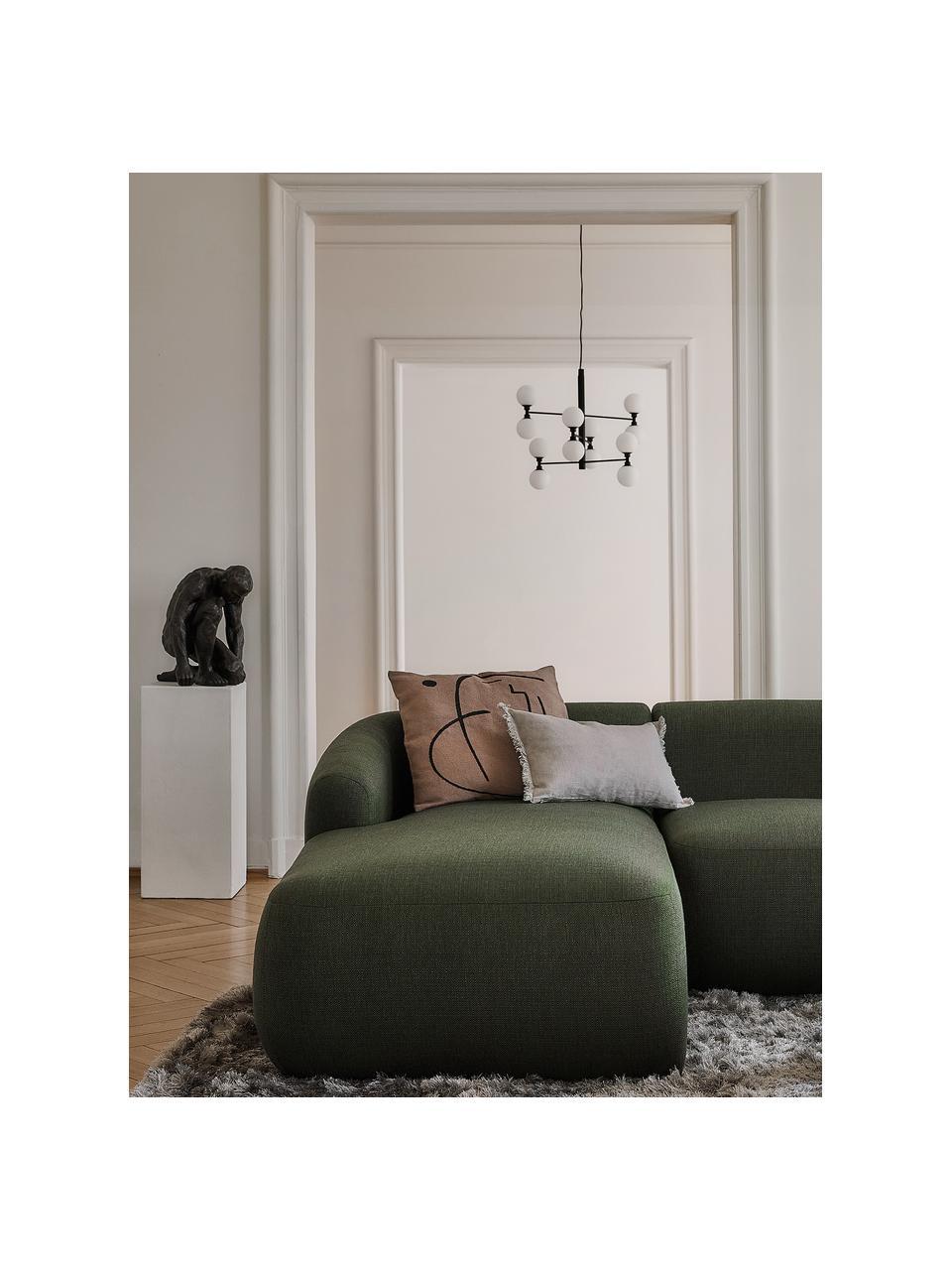 Lampa wisząca ze szklanymi kulami Grover, Czarny, biały, Ø 70 x W 56 cm
