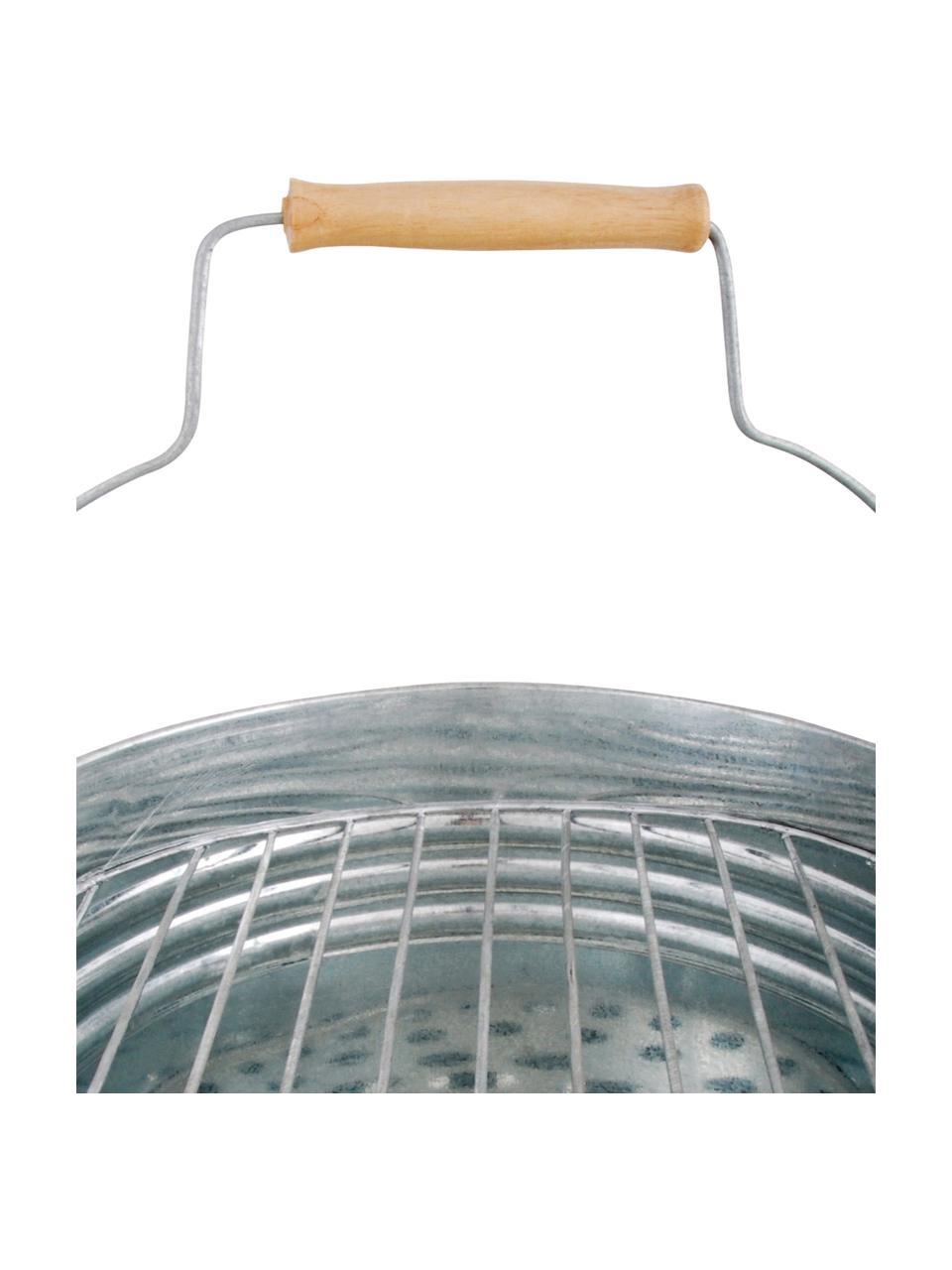 Secchio per barbecue Brett, Manico: legno, Color zinco, Ø 31 x Alt. 34 cm