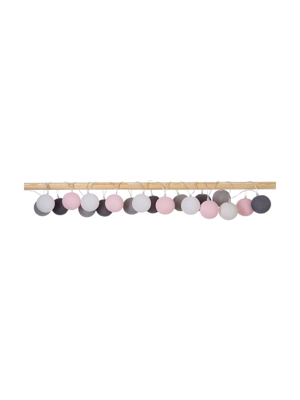 LED-Lichterkette Colorain, 378 cm, 20 Lampions, Weiß, Rosa, Grautöne, L 378 cm