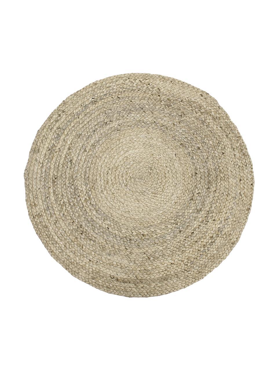 Rond handgemaakt juten vloerkleed Sharmila, 100% jute, Beige, Ø 100 cm (maat XS)