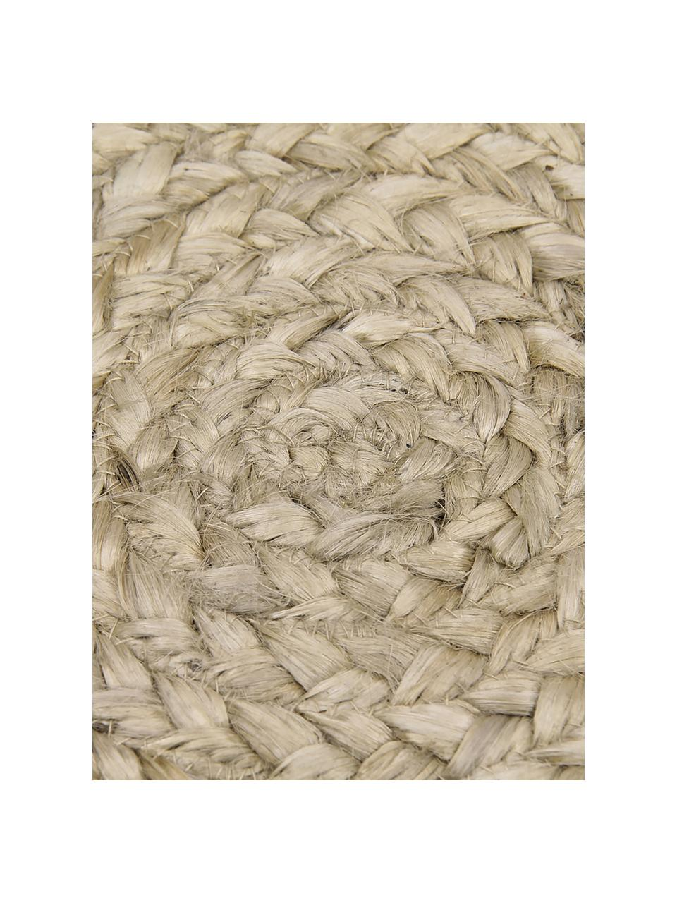 Rond handgemaakt juten vloerkleed Sharmila, 100% jute, Beige, Ø 140 cm (maat M)