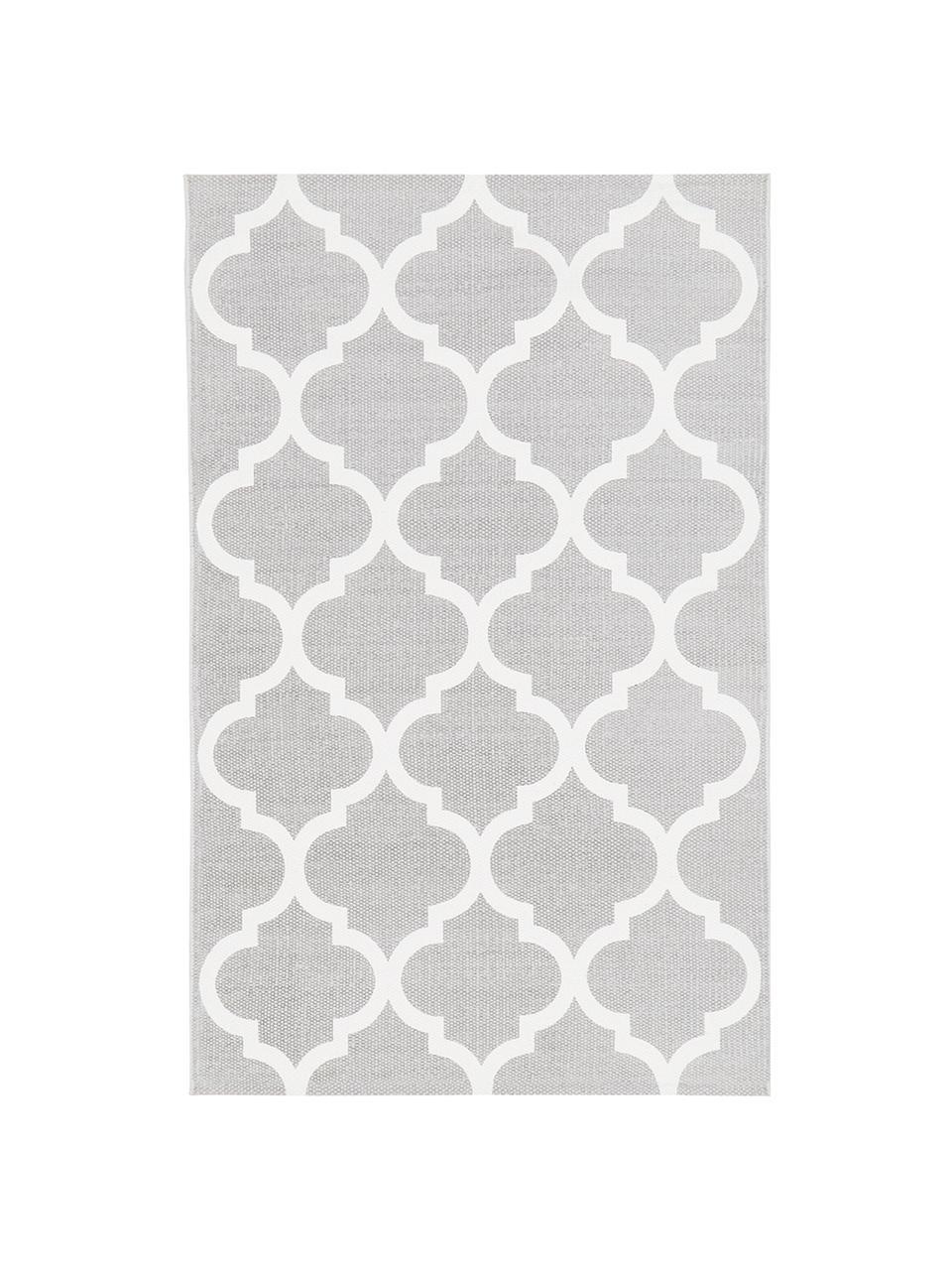 Tappeto sottile in cotone tessuto a mano Amira, 100% cotone, Grigio chiaro, bianco crema, Larg. 70 x Lung. 140 cm (taglia XS)