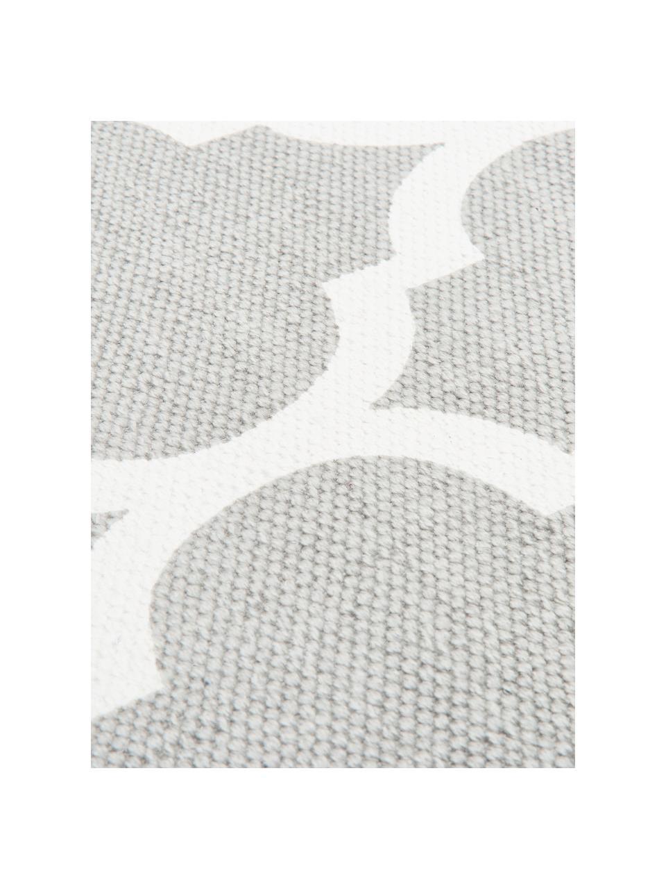Dünner Baumwollteppich Amira in Grau/Weiß, handgewebt, 100% Baumwolle, Hellgrau, Cremeweiß, B 200 x L 300 cm (Größe L)