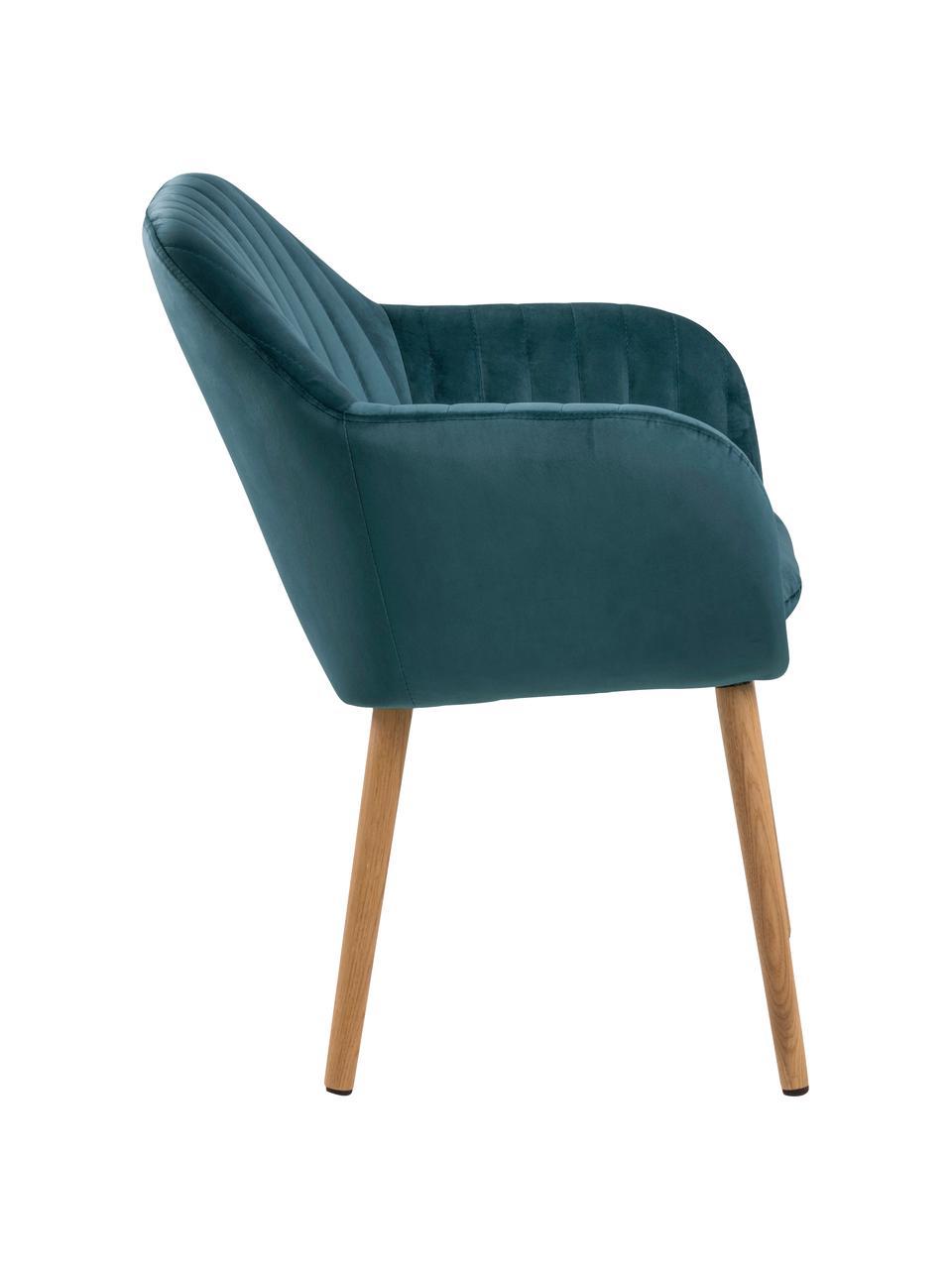 Krzesło z podłokietnikami z aksamitu i drewnianymi nogami Emilia, Tapicerka: poliester (aksamit) Dzięk, Nogi: drewno dębowe, olejowane, Aksamitny niebieski, drewno dębowe, S 57 x G 59 cm