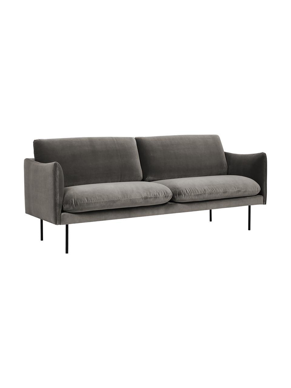 Sofa z aksamitu z metalowymi nogami Moby (2-osobowa), Tapicerka: aksamit (wysokiej jakości, Stelaż: lite drewno sosnowe, Nogi: metal malowany proszkowo, Aksamitny szarobrązowy, S 170 x G 95 cm