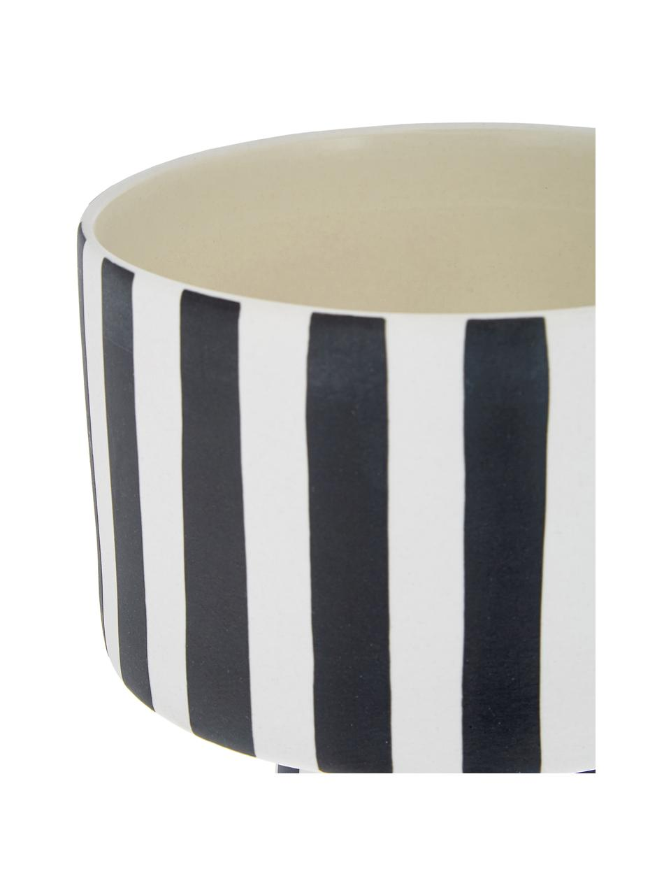 Ręcznie wykonana doniczka z ceramiki Toppu, Ceramika, Biały, czarny, Ø 15 x W 24 cm