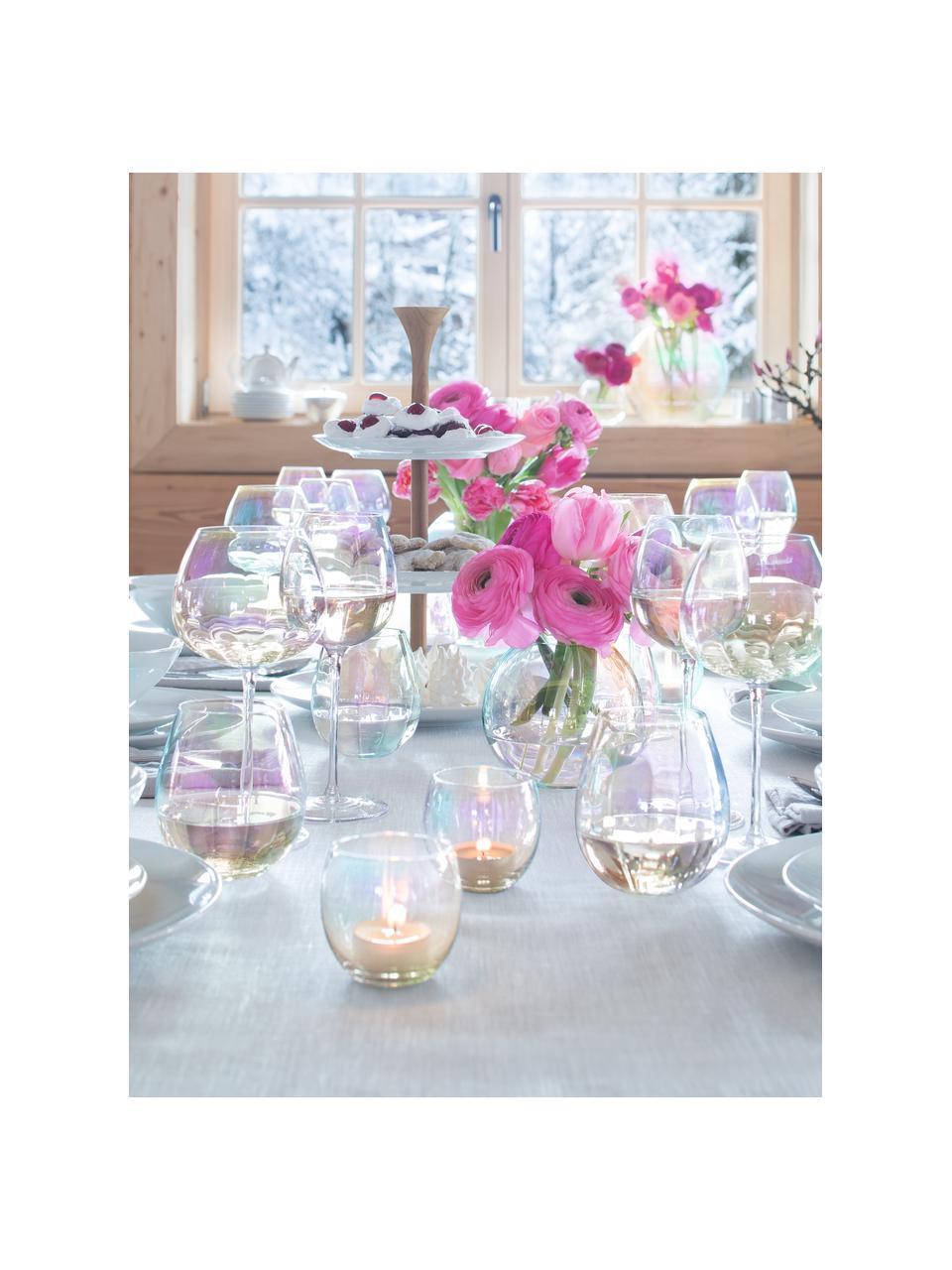 Mundgeblasene Wassergläser Pearl mit schimmerndem Perlmuttglanz, 4 Stück, Glas, Perlmutt-Schimmer, Ø 9 x H 10 cm