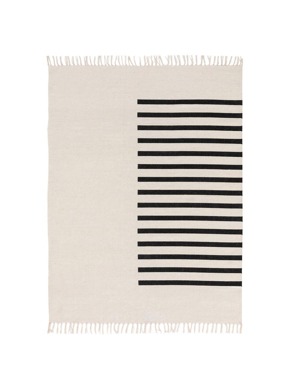 Ręcznie tkany dywan kilim z wełny Neo, 100% wełna Włókna dywanów wełnianych mogą nieznacznie rozluźniać się w pierwszych tygodniach użytkowania, co ustępuje po pewnym czasie, Kremowy, czarny, 200 x 300 cm (Rozmiar L)