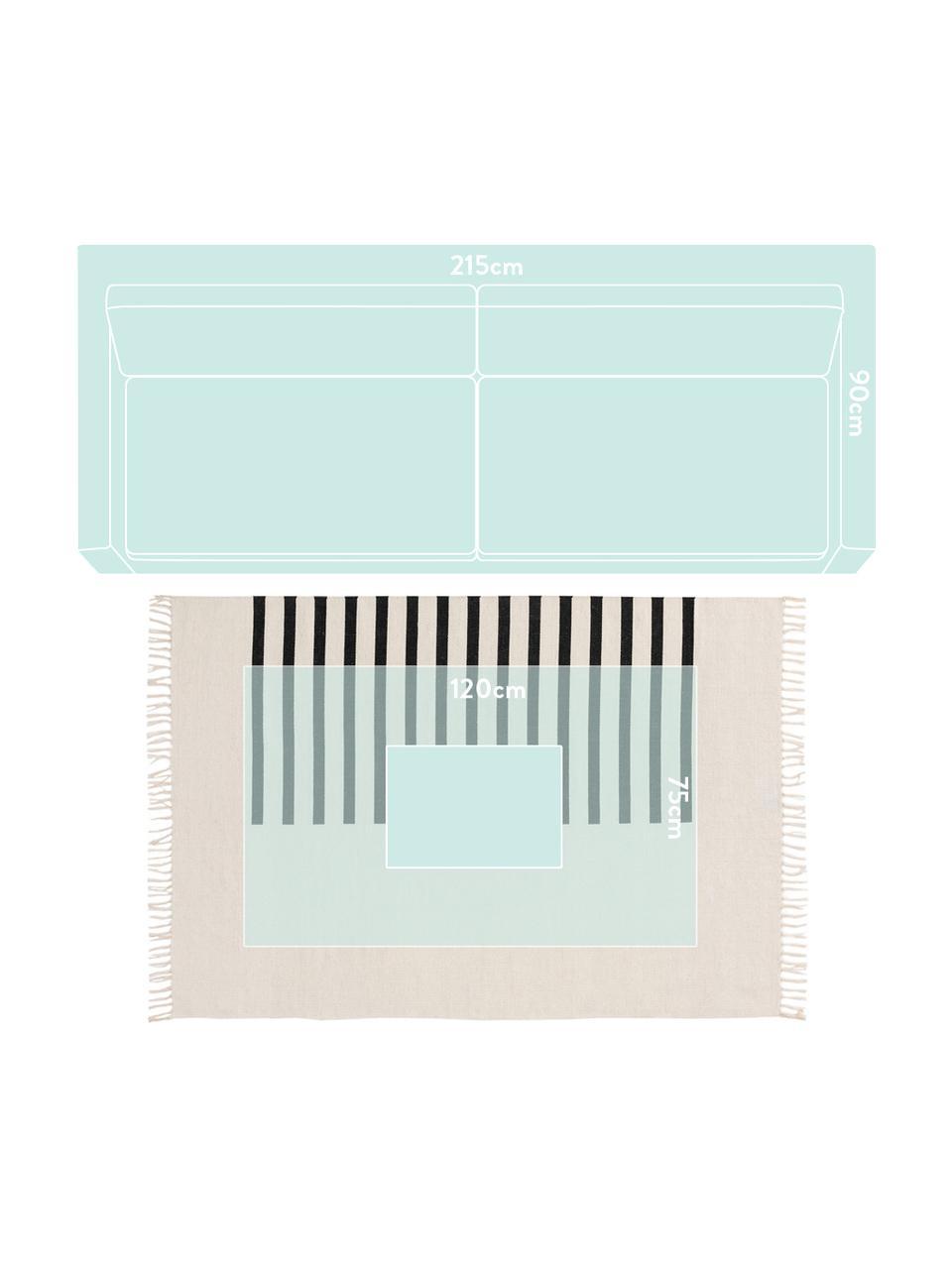Handgeweven kelim vloerkleed Neo van wol, 100% wol Bij wollen vloerkleden kunnen vezels loskomen in de eerste weken van gebruik, dit neemt af door dagelijks gebruik en pluizen wordt verminderd., Crèmekleurig, zwart, B 200 x L 300 cm (maat L)
