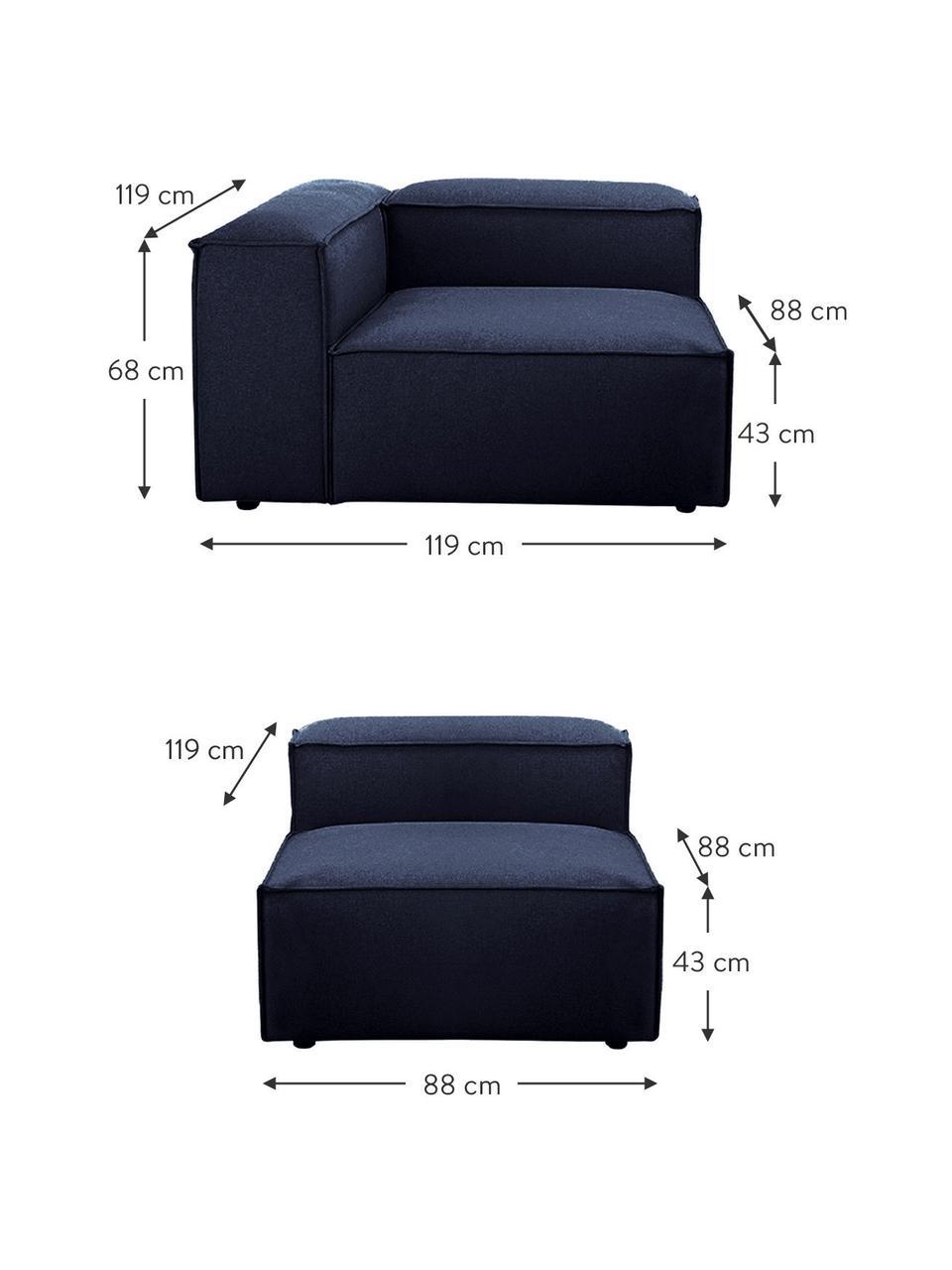 Modulares Sofa Lennon (4-Sitzer) in Blau, Bezug: 100% Polyester Der strapa, Gestell: Massives Kiefernholz, Spe, Füße: Kunststoff Die Füße befin, Webstoff Blau, B 327 x T 119 cm