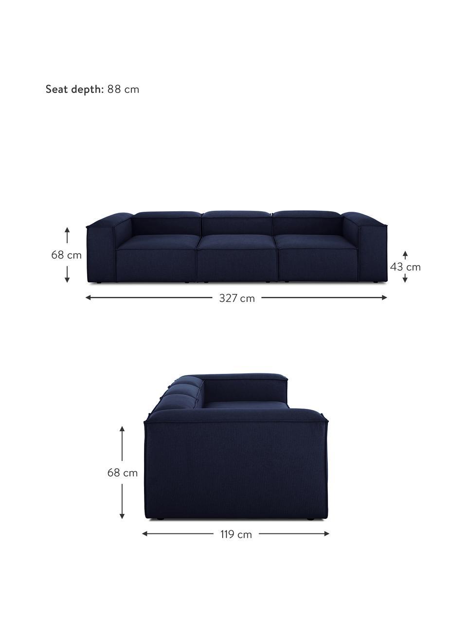 Canapé modulable bleu 4 places Lennon, Tissu bleu