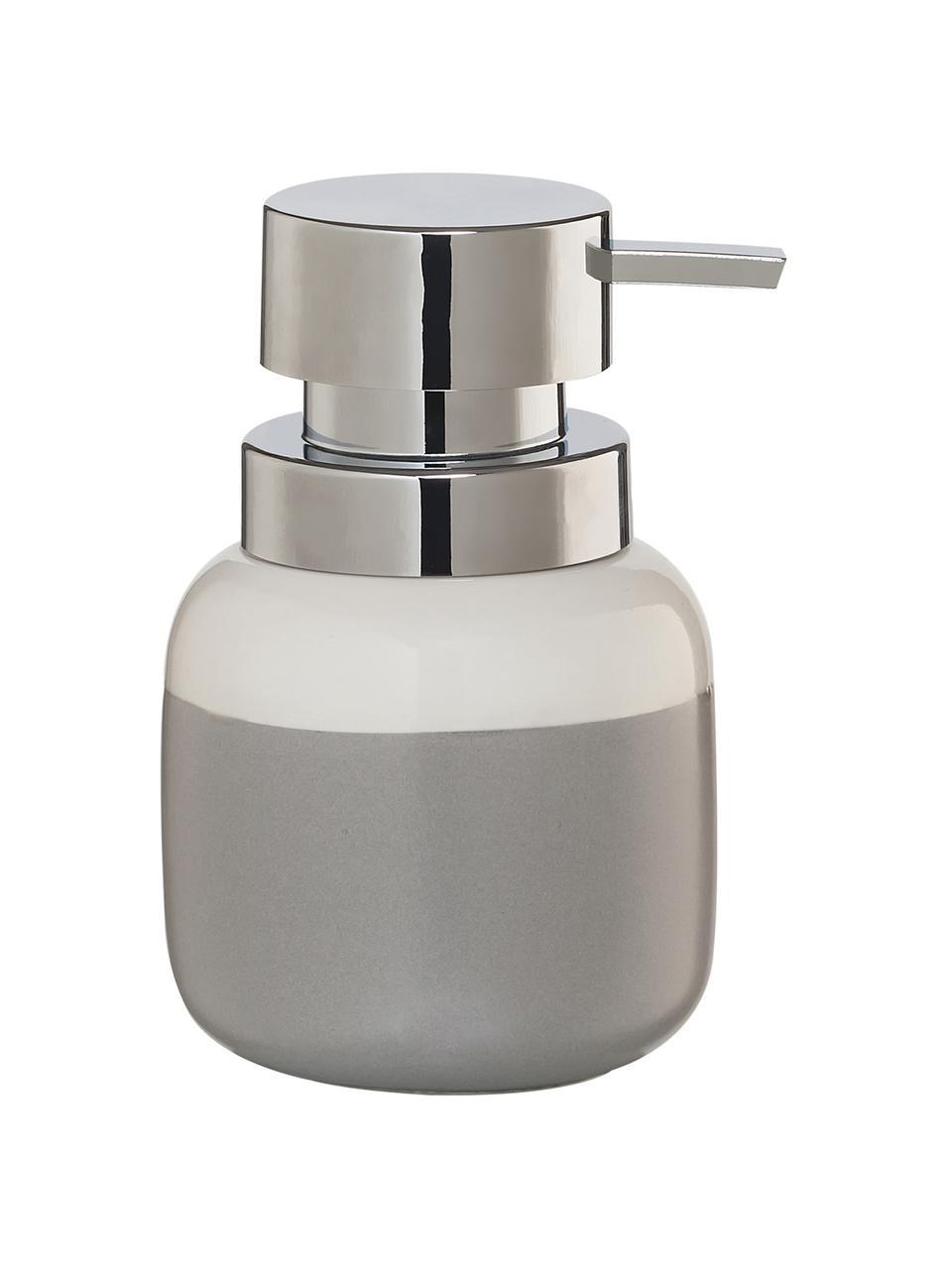 Porzellan-Seifenspender Sphere, Gefäß: Porzellan, Pumpkopf: Kunststoff, Gefäß: Hellgrau, WeißPumpkopf: Silberfarben, Ø 10 x H 14 cm