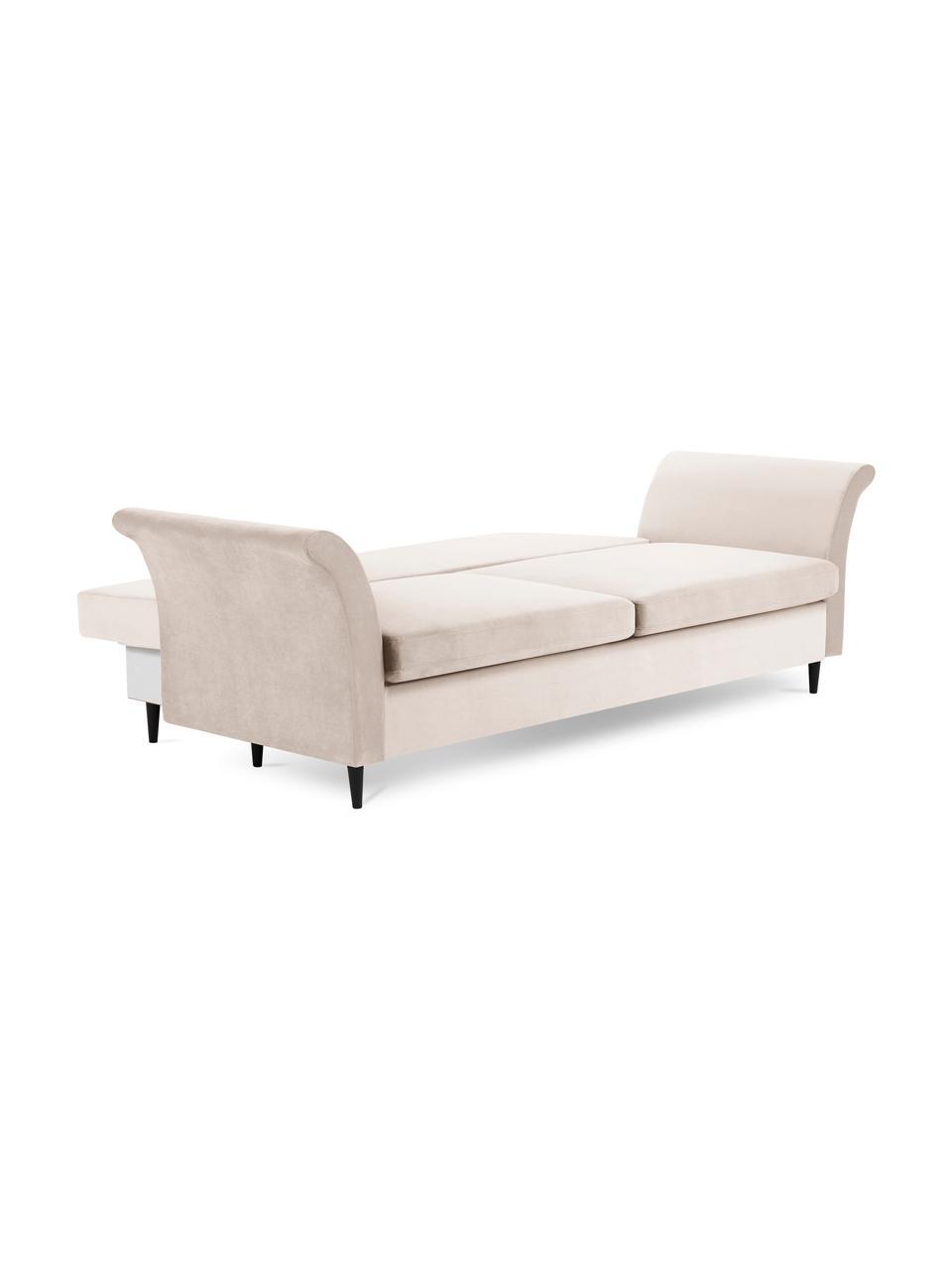 Sofa rozkładana z aksamitu Lola (3-osobowa), Beżowy, S 245 x G 95 cm