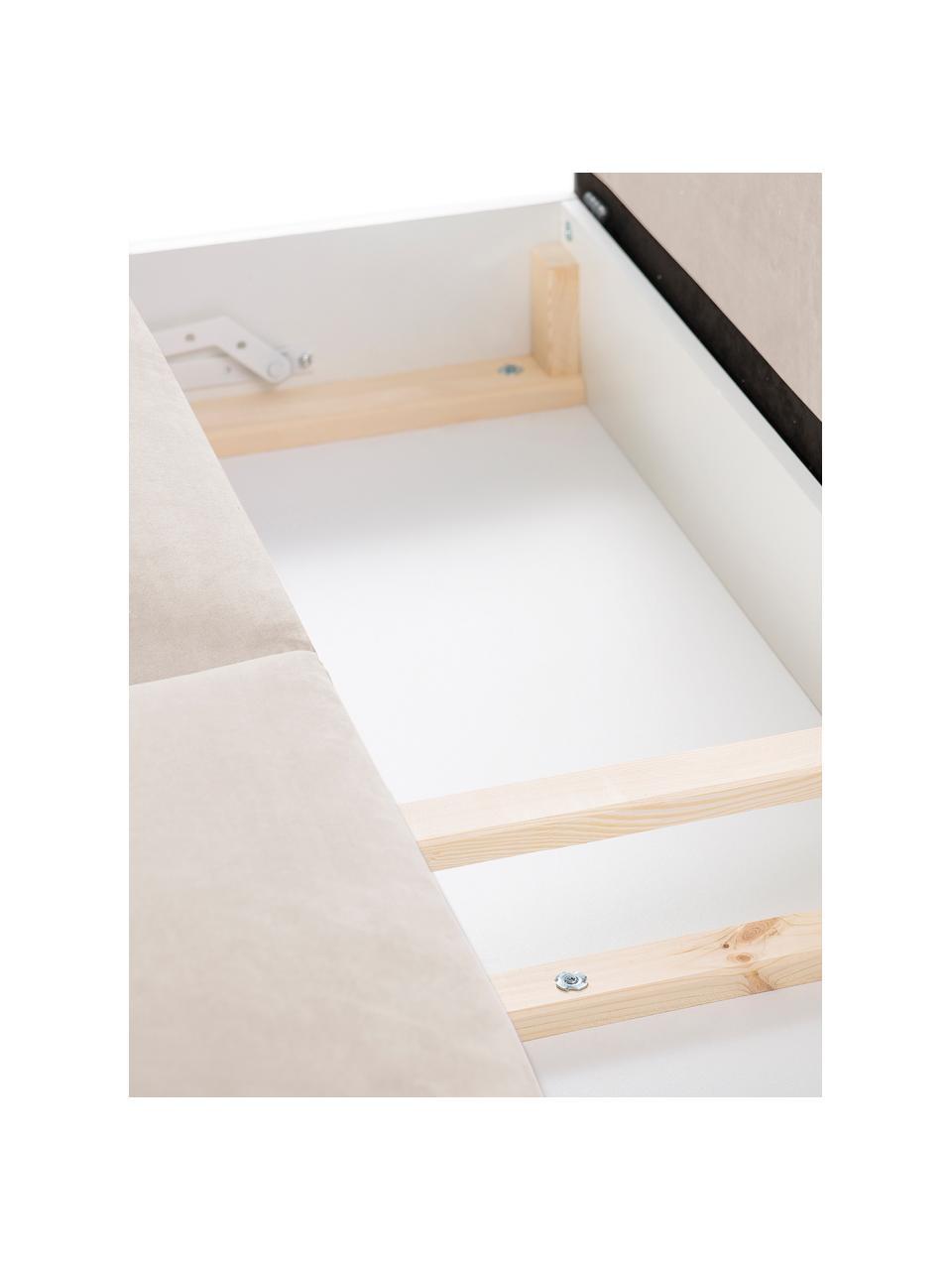 Sofá cama de terciopelo Lola (3plazas), Tapizado: 100%terciopelo de poliés, Estructura: madera de pino maciza, ag, Patas: madera, Beige, An 245 x F 95 cm