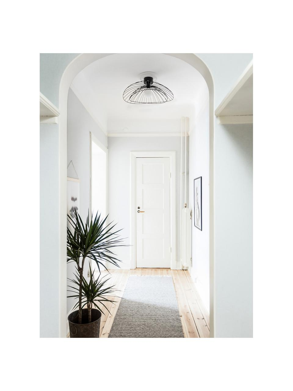Grote plafond- en wandlamp Ray, Lampenkap: metaal, Zwart, Ø 60 x H 20 cm