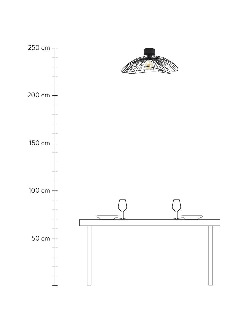 Kinkiet/lampa sufitowa z wtyczką Ray, Czarny, Ø 60 x W 20 cm