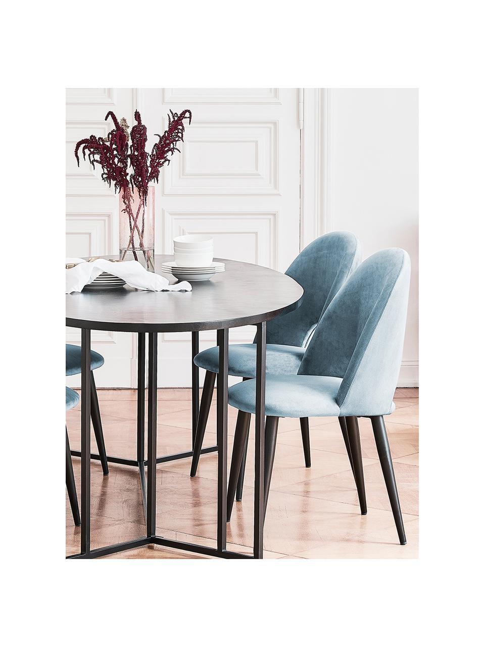 Sedia imbottita in velluto blu Rachel, Rivestimento: velluto (rivestimento in , Gambe: metallo verniciato a polv, Velluto azzurro, Larg. 53 x Prof. 57 cm