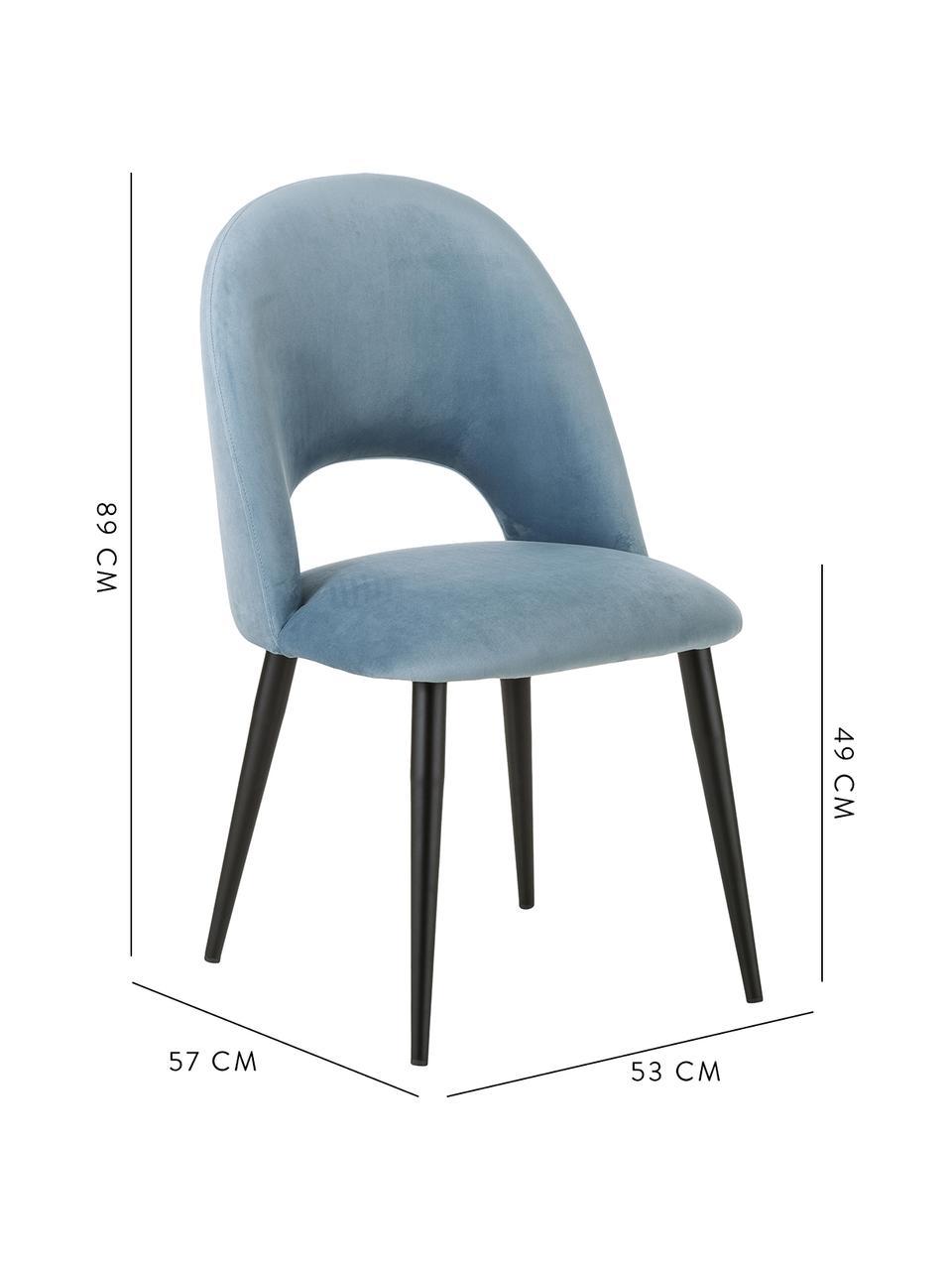 Samt-Polsterstuhl Rachel in Blau, Bezug: Samt (Hochwertiger Polyes, Beine: Metall, pulverbeschichtet, Samt Hellblau, B 53 x T 57 cm