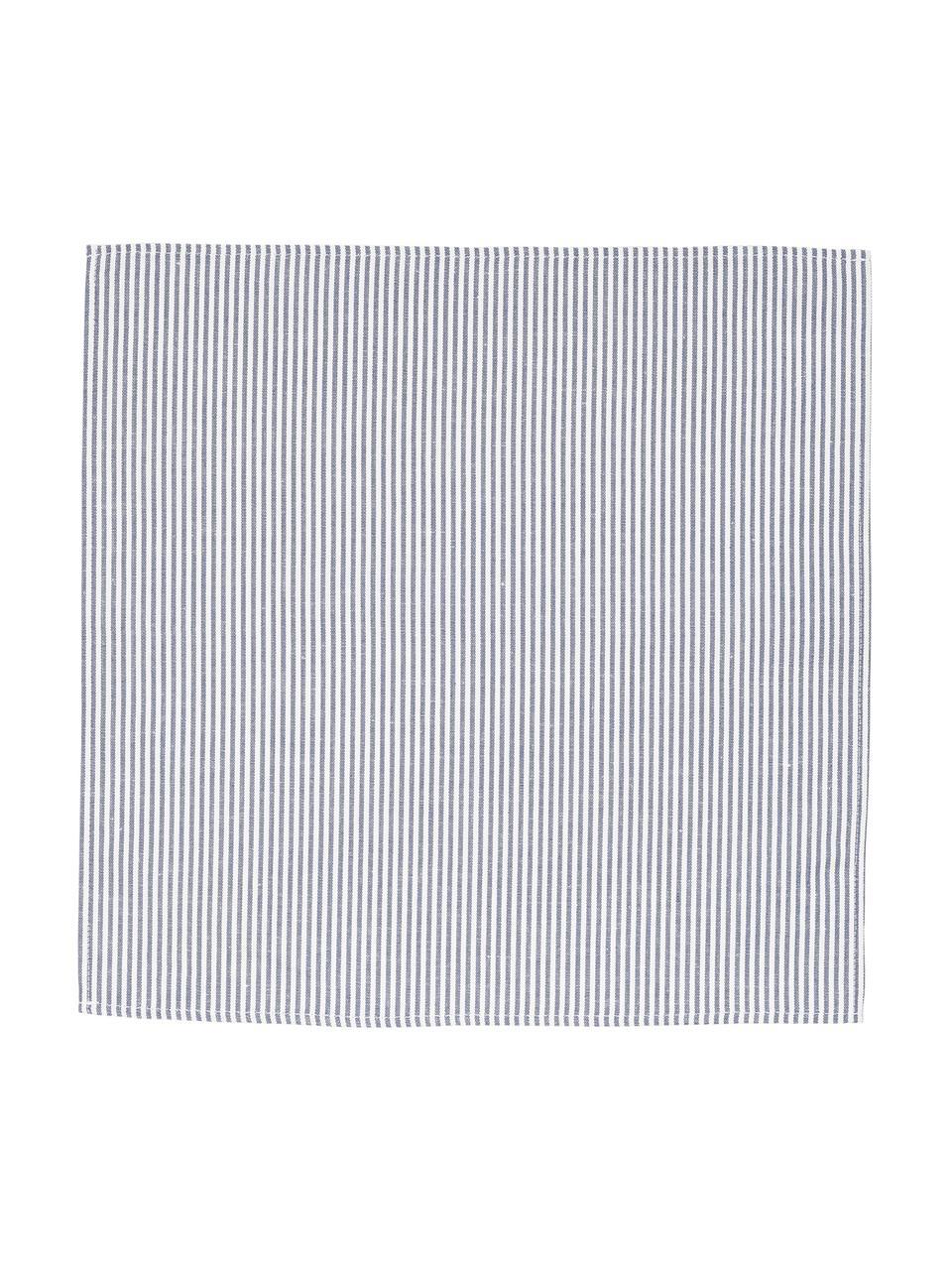 Serviette de table composée pour moitié de lin Rayures, Blanc, bleu