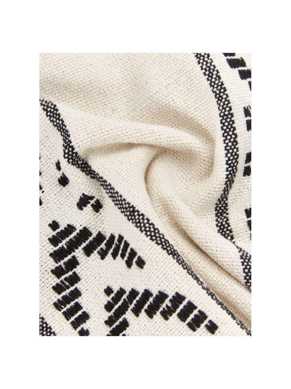 Baumwoll-Kissenhülle Okiro mit Kederumrandung und Quasten in Schwarz/Beige, 100% Baumwolle, Beige, Schwarz, 30 x 50 cm