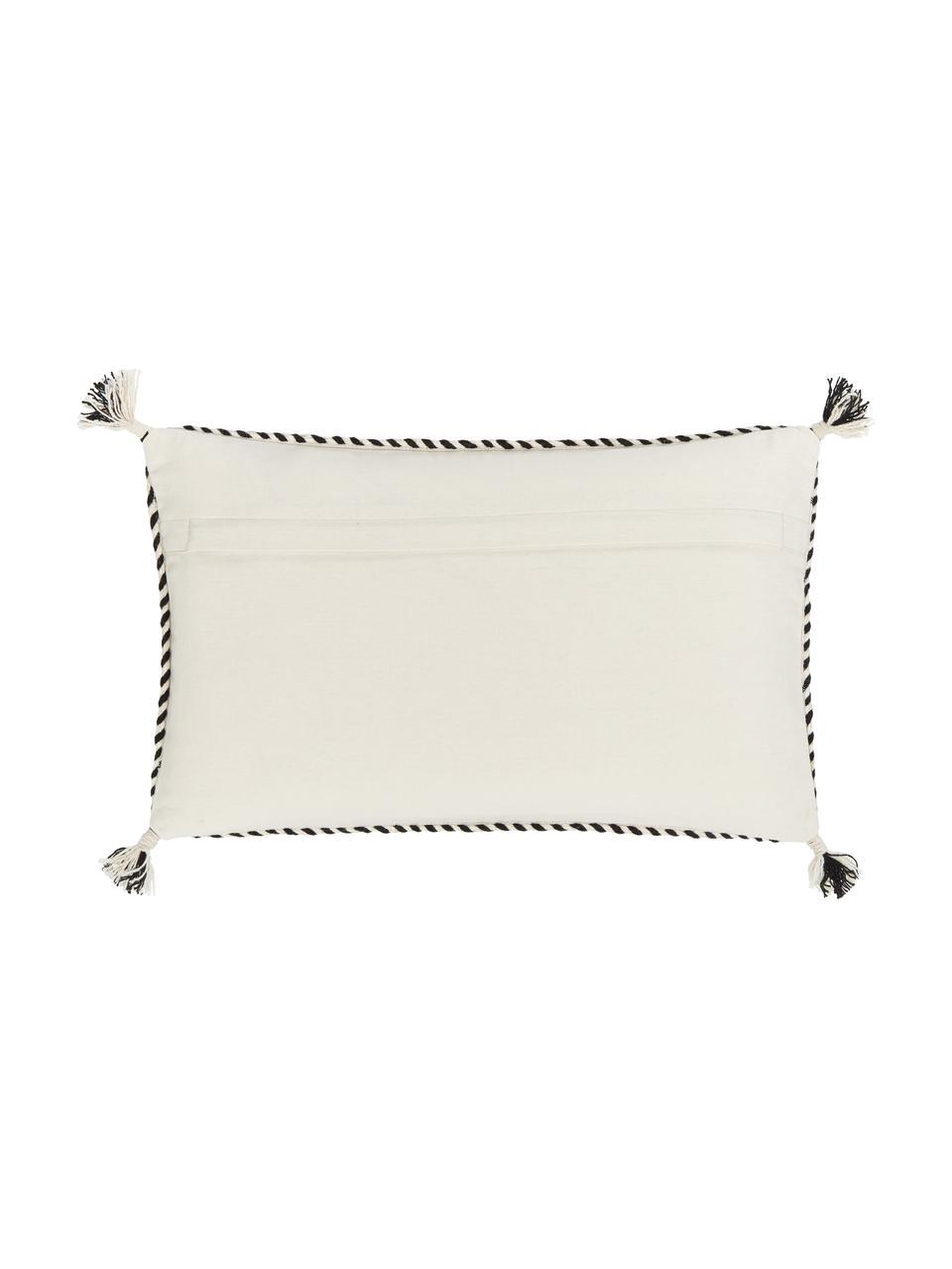 Poszewka na poduszkę z bawełny z chwostami Okiro, 100% bawełna, Beżowy, czarny, S 30 x D 50 cm