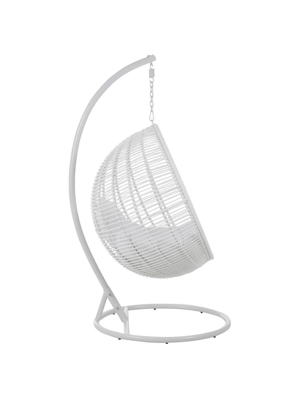 Fotel wiszący z metalową ramą Round, Biały, S 119 x W 193 cm