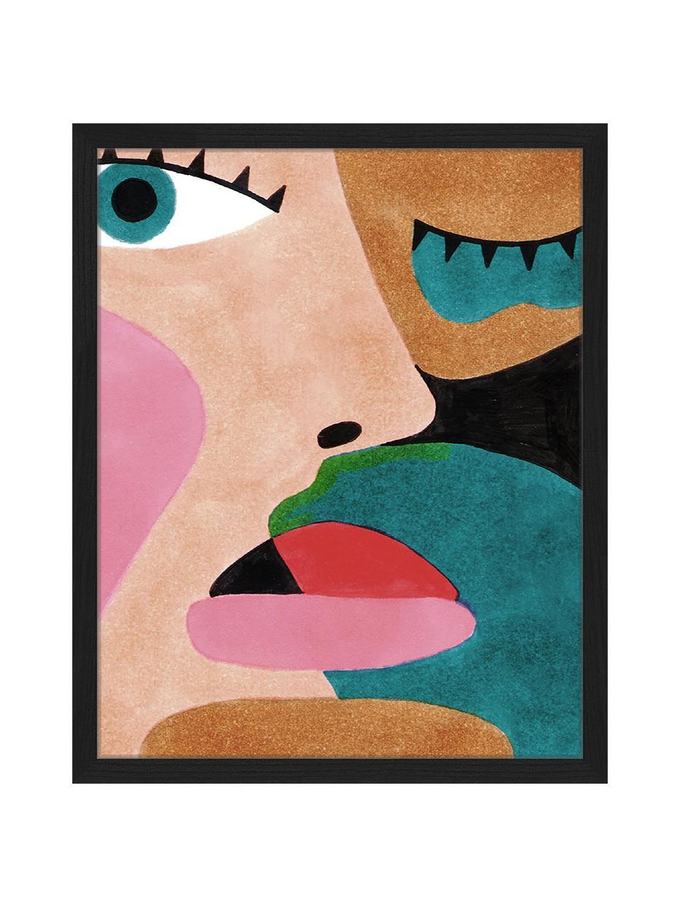 Gerahmter Digitaldruck Close Up Face, Bild: Digitaldruck auf Papier, , Rahmen: Holz, lackiert, Front: Plexiglas, Mehrfarbig, 43 x 53 cm