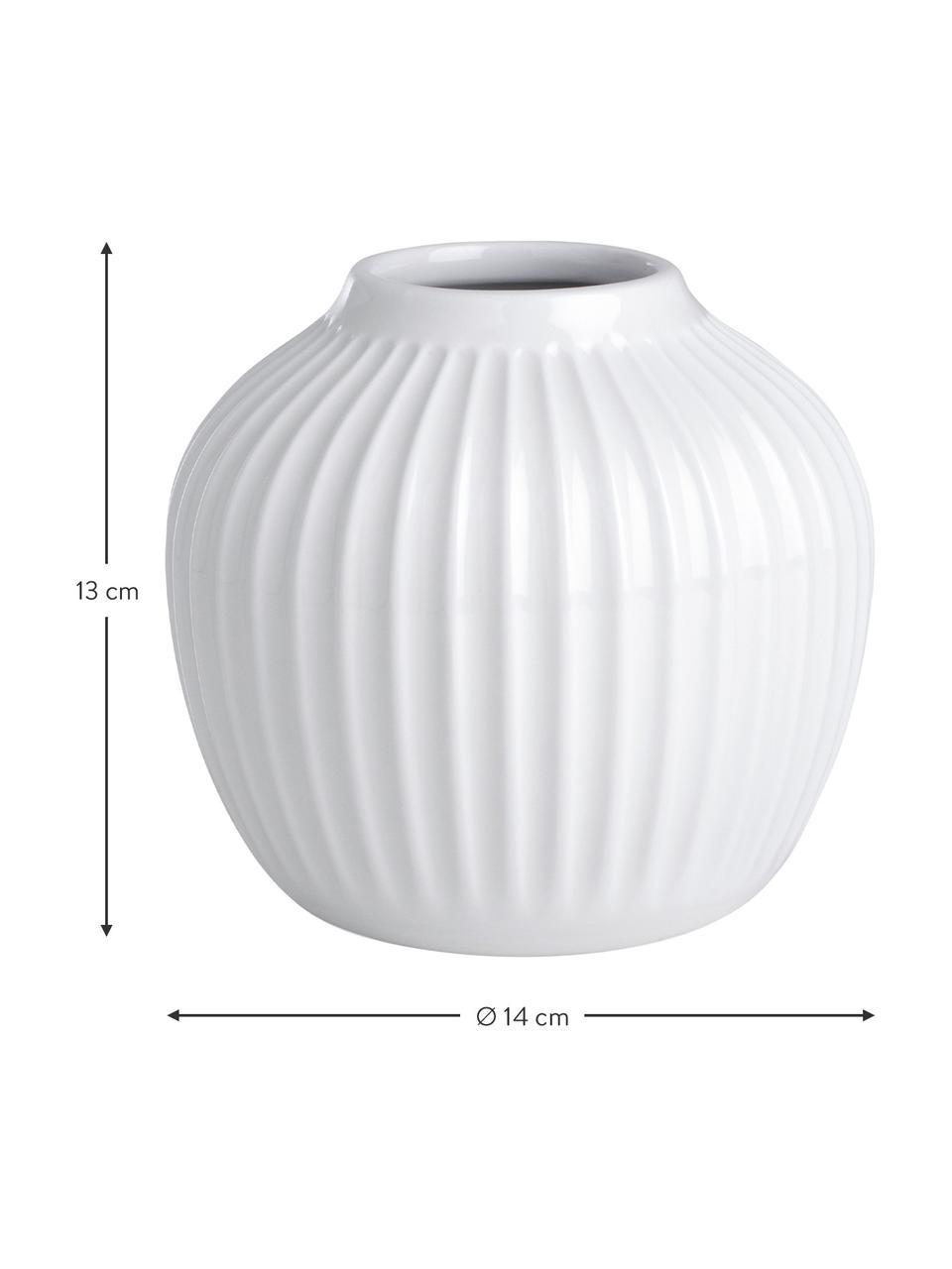 Handgemaakte design vaas Hammershøi, Porselein, Wit, Ø 14 x H 13 cm