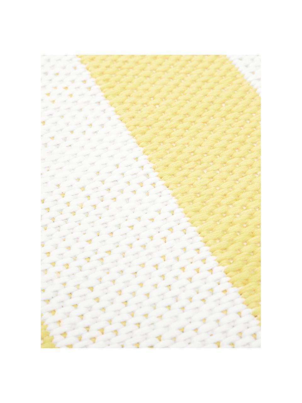 Gestreifter In- & Outdoor-Läufer Axa in Gelb/Weiß, 86% Polypropylen, 14% Polyester, Cremeweiß, Gelb, 80 x 250 cm