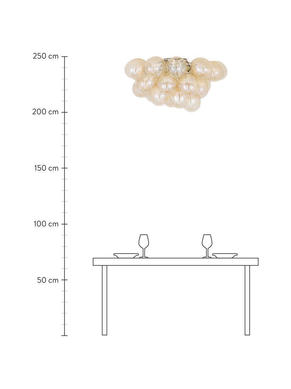 Glaskugel-Deckenleuchte Gross, Baldachin: Nickel, verchromt, Bernsteinfarben, Ø 50 x H 27 cm