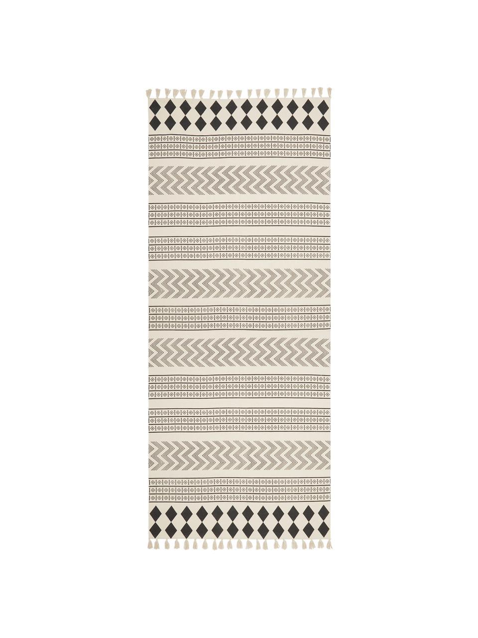 Passatoia in cotone tessuta a mano Edna, 100% cotone, Bianco crema, nero, Larg. 80 x Lung. 250 cm