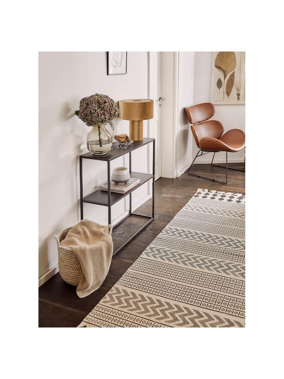 Ręcznie tkany chodnik z bawełny w stylu etno Edna, 100 % bawełna, Kremowobiały, czarny, S 80 x D 250 cm
