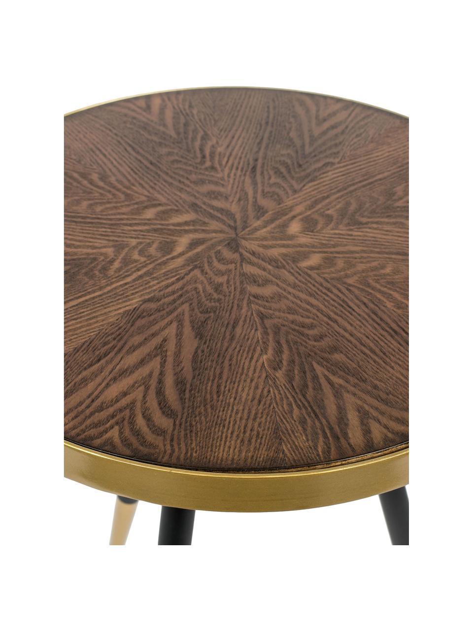 Runder Beistelltisch Denise, Tischplatte: Mitteldichte Holzfaserpla, Eschenholz, Goldfarben, Ø 45 x H 45 cm