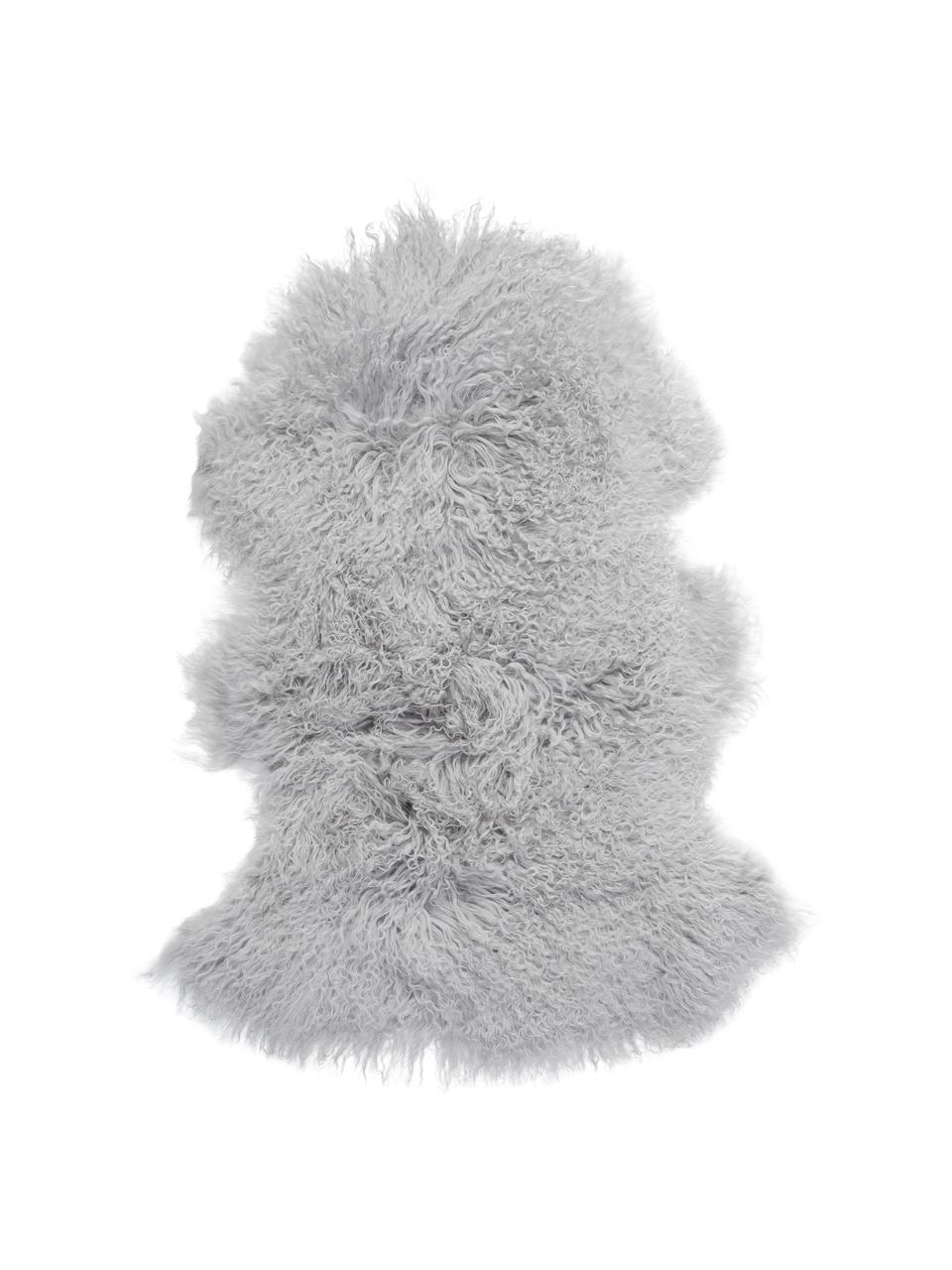 Tappeto in pelliccia d'agnello a pelo lungo Ella, Retro: pelle, Grigio chiaro, Larg. 50 x Lung. 80 cm