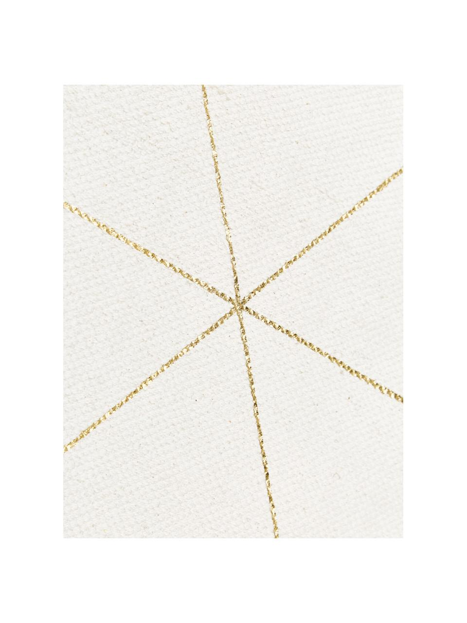 Tapis beige doré à franges tissé à plat Klara, Beige, or