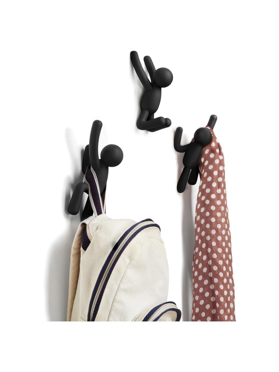 Komplet haków ściennych Buddy, 3 elem., Tworzywo sztuczne (ABS), Czarny, Komplet z różnymi rozmiarami